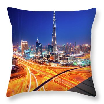 Amazing Night Dubai Downtown Skyline, Dubai, United Arab Emirates Throw Pillow