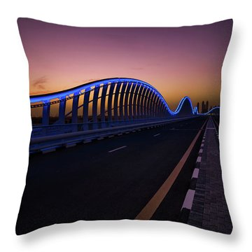 Amazing Night Dubai Vip Bridge With Beautiful Sunset. Private Ro Throw Pillow