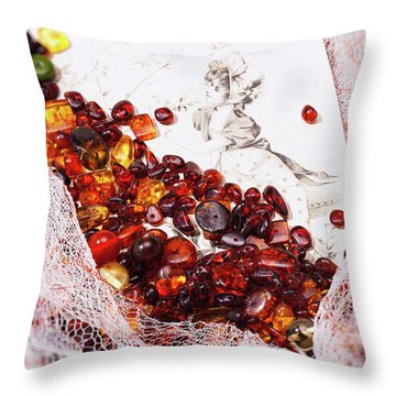 Throw Pillow featuring the photograph Amber #8925 by Andrey  Godyaykin