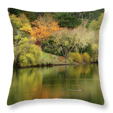 Amber Days Of Autumn Throw Pillow