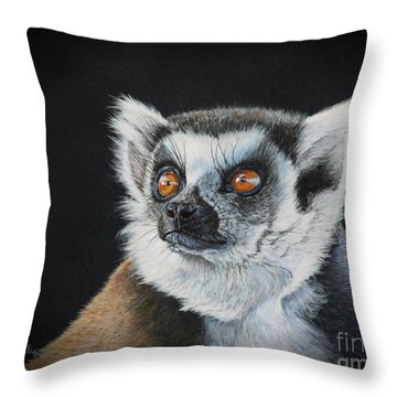 Amber Eyes......lemur Throw Pillow