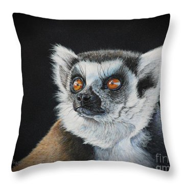 Amber Eyes......lemur Throw Pillow