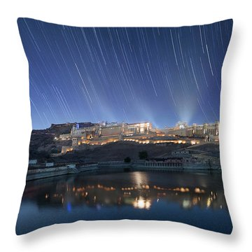 Throw Pillow featuring the photograph Amber Fort After Sunset by Pradeep Raja Prints