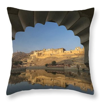 Throw Pillow featuring the photograph Amber Fort Reflection by Yew Kwang