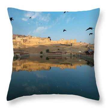 Throw Pillow featuring the photograph Amber Fort  by Yew Kwang