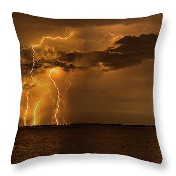 Amber Rain Throw Pillow