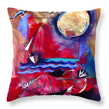 Ameeba 34-horse And Sailboat Throw Pillow