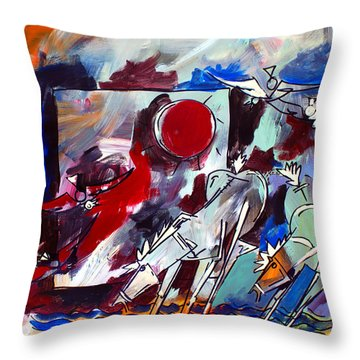 Ameeba 36-horses By The Sea 2 Throw Pillow