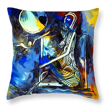 Ameeba- Nude Woman On Beach 6 Throw Pillow