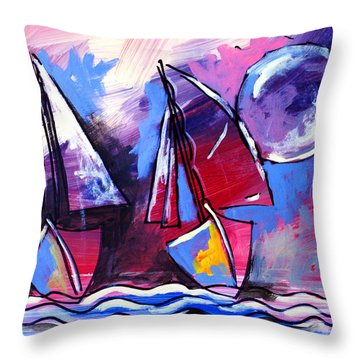 Ameeba- Sailboats 2 Throw Pillow