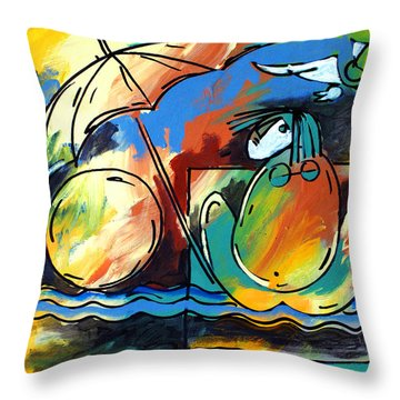 Ameeba- Woman On Beach Throw Pillow