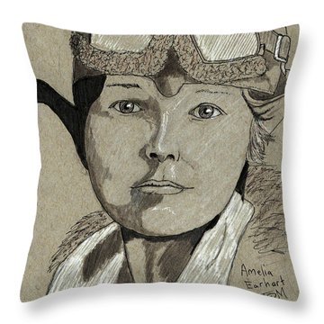Amelia Earhart Throw Pillow