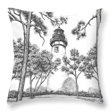 Amelia Island Lighthouse Throw Pillow by Lawrence Tripoli