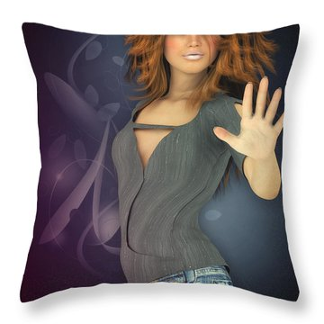 Amelie In Jeans Throw Pillow