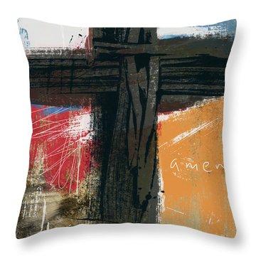 Amen Contemporary Cross- Art By Linda Woods Throw Pillow