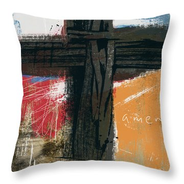Amen Contemporary Cross- Art By Linda Woods Throw Pillow