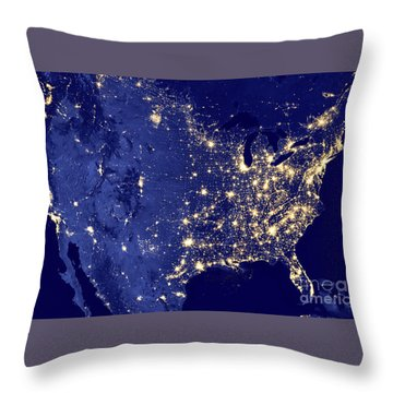 America By Night Throw Pillow by Delphimages Photo Creations