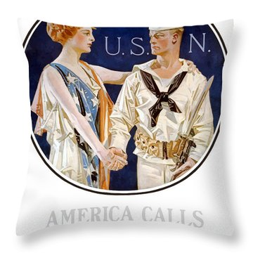 America Calls Enlist In The Navy Throw Pillow