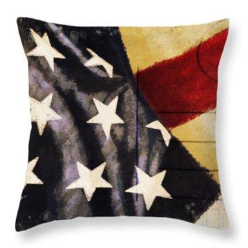 America Flag Pattern Postcard Throw Pillow by Setsiri Silapasuwanchai