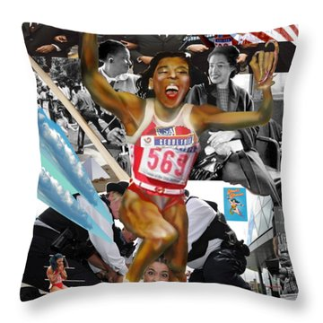 America On Her Back Throw Pillow
