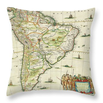 America Pars Meridionalis Throw Pillow by Joannes Jansson