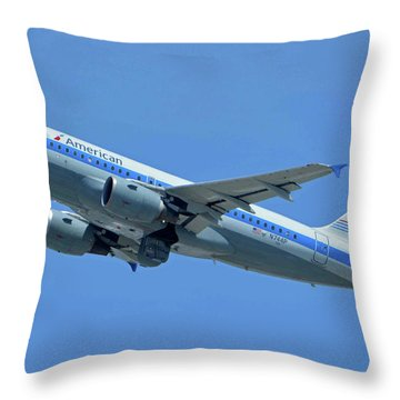 Throw Pillow featuring the photograph American Airbus A319-0112 N744p Piedmont Pacemaker Los Angeles International Airport May 3 20 by Brian Lockett