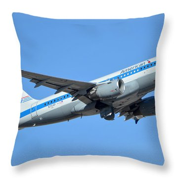 American Airbus A319-0112 N744p Retro Piedmont Pacemaker Phoenix Sky Harbor January 21 2016 Throw Pillow by Brian Lockett