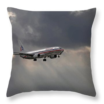 American Aircraft Landing After The Rain. Miami. Fl. Usa Throw Pillow