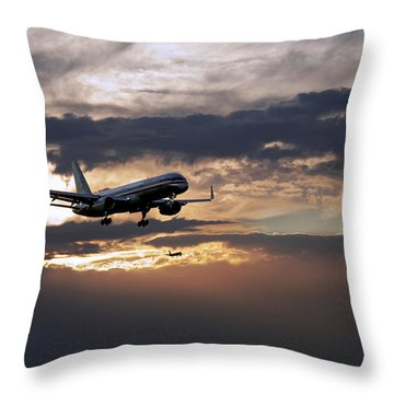 American Aircraft Landing At The Twilight. Miami. Fl. Usa Throw Pillow