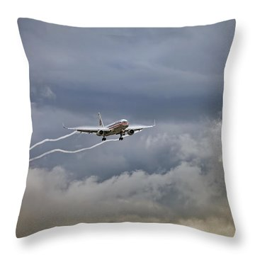 American Aircraft Landing Throw Pillow