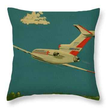 American Airlines Boeing 727 Throw Pillow