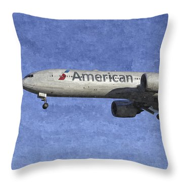 American Airlines Boeing 777 Aircraft Art Throw Pillow