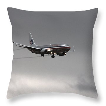 American Airlines-landing At Dfw Airport Throw Pillow