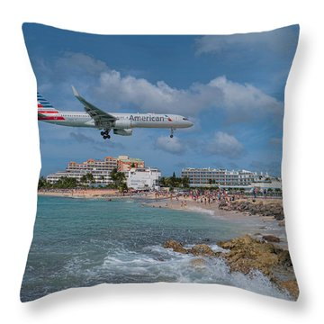 American Airlines Landing At St. Maarten Airport Throw Pillow by David Gleeson