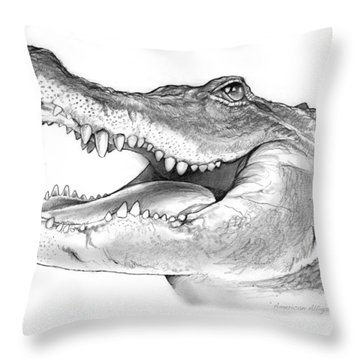 American Alligator Throw Pillow by Greg Joens