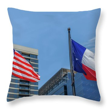 American And Texas Flag On Top Of The Pole Throw Pillow