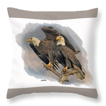 American Bald Eagle Pair Throw Pillow
