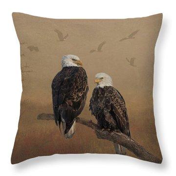 American Bald Eagle Family Throw Pillow