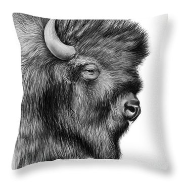 American Bison Throw Pillow by Greg Joens