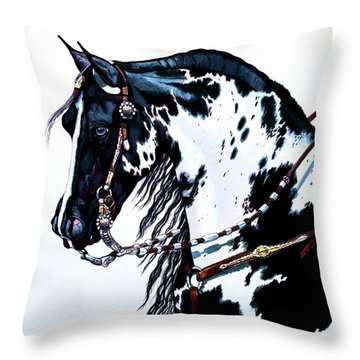 American Black And White Paint  Throw Pillow
