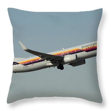 American Boeing 737-823 N917nn December 31 2015 Throw Pillow by Brian Lockett