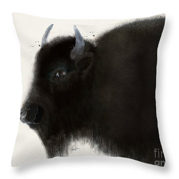 Throw Pillow featuring the painting American Buffalo by Bri B