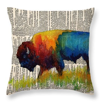 American Buffalo IIi On Vintage Dictionary Throw Pillow