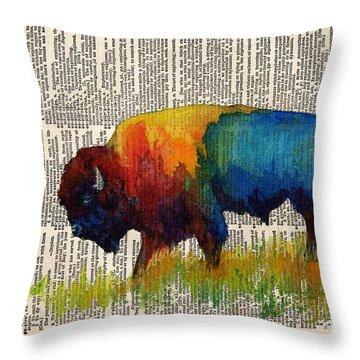 American Buffalo IIi On Vintage Dictionary Throw Pillow by Hailey E Herrera