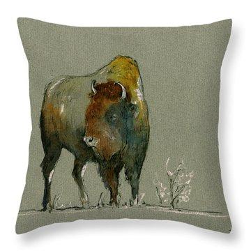 American Buffalo Throw Pillow by Juan  Bosco