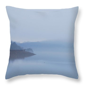 American Coot In Misty Fog 20120316_40a Throw Pillow by Tina Hopkins