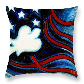 Throw Pillow featuring the painting American Dove by Genevieve Esson