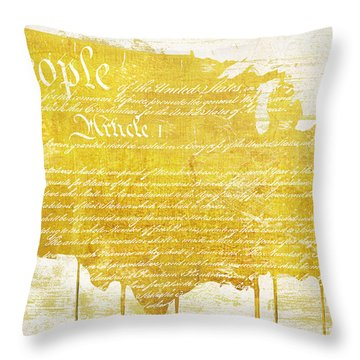 Gold American Map Constitution Throw Pillow