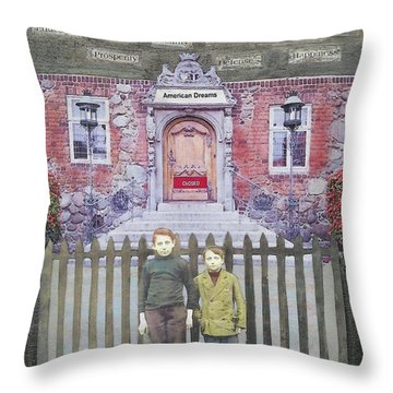 Throw Pillow featuring the mixed media American Dreams by Desiree Paquette