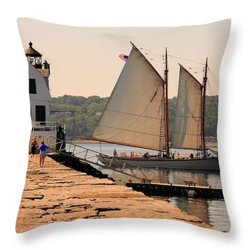 American Eagle At The Lighthouse Throw Pillow